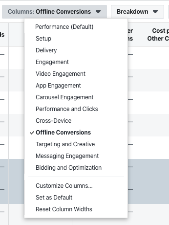 Facebook Ads Reporting Column Presets
