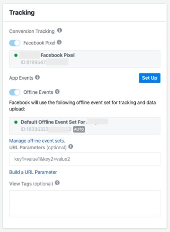Facebook Ad level Tracking settings